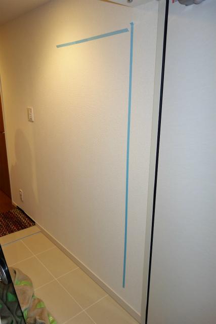 玄関に大きな鏡を取付 横浜 保土ヶ谷 マンション